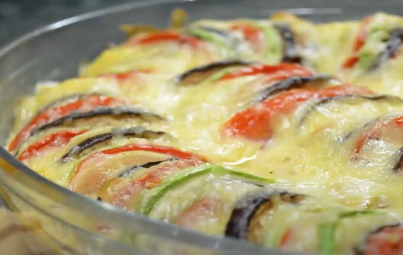 Запеканка из кабачков, баклажан и помидоров
