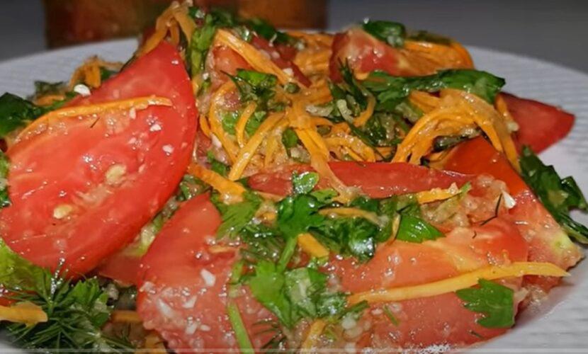 Острые помидоры с морковью и кинзой: рецепт быстрого приготовления